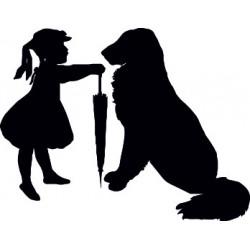 aufkleber autoaufkleber fl�gel, wolf, hund, babyaufkleber Hund mit Kind