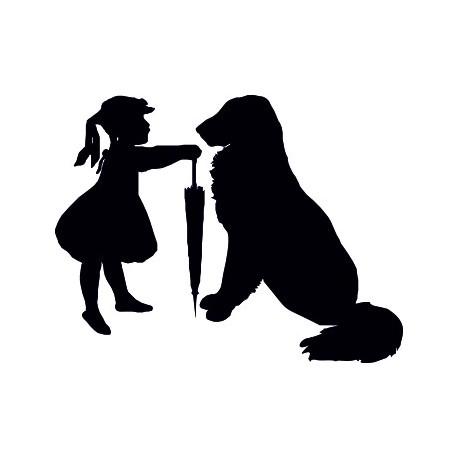 Aufkleber: Hund mit Kind
