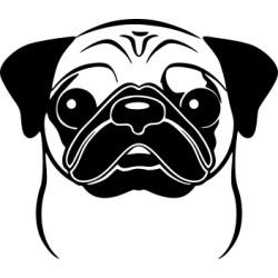 Autoaufkleber: Mops 1 Hund Aufkleber Mops 1