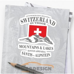 aufkleber autoaufkleber fl�gel, wolf, hund, babyaufkleber Schweiz Säntis - bunte Aufkleber
