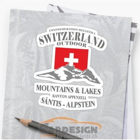 Aufkleber: Schweiz Säntis - bunte Aufkleber
