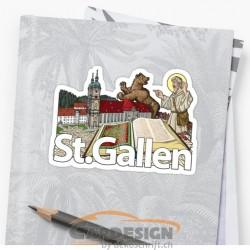 Autoaufkleber: St. Gallen - bunte Aufkleber Schweiz Säntis - bunte Aufkleber