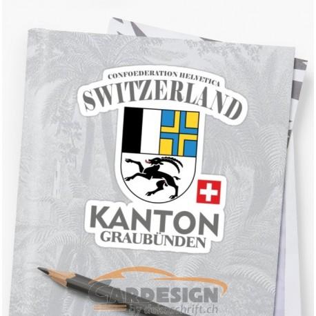 Aufkleber: Kanton Graubünden - bunte Aufkleber