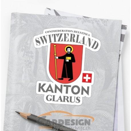 Aufkleber: Kanton Glarus Schweiz - bunte Aufkleber