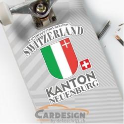 Kanton Neuenburg Schweiz - bunte Aufkleber