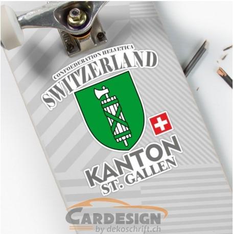 Aufkleber: Kanton St. Gallen Schweiz - bunte Aufkleber