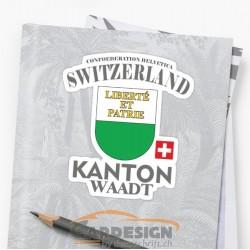 aufkleber autoaufkleber fl?gel, wolf, hund, babyaufkleber Kanton Waad Schweiz - bunte Aufkleber