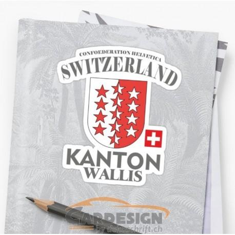 Aufkleber: Kanton Wallis Schweiz - bunte Aufkleber