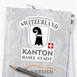 aufkleber autoaufkleber fl�gel, wolf, hund, babyaufkleber Kanton Basel Stadt - bunte Aufkleber