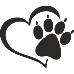 Hundepfoten Aufkleber mit Herz