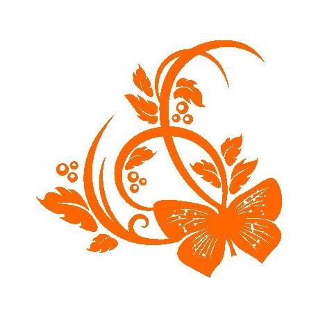 Aufkleber: Blume mit Schmetterling