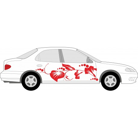 individuelle hibiskus autoaufkleber blumen hawaii aufkleber f rs auto und ranken folien. Black Bedroom Furniture Sets. Home Design Ideas